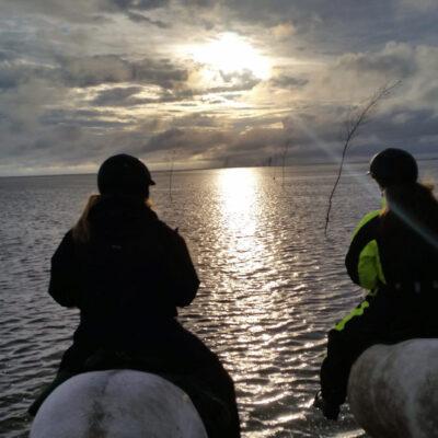 Solnedgang over Ebbevejen til Mandø.